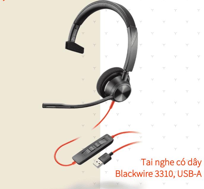 Tai nghe có dây Poly Blackwire 3310 USB Type A/C