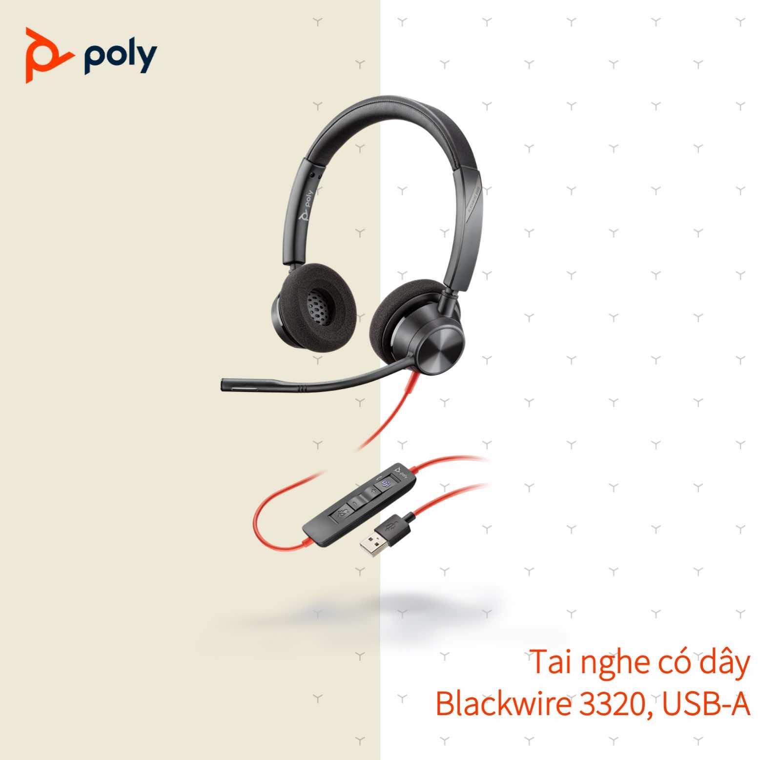 Tai nghe có dây Poly Plantronics Blackwire 3320 USB Type A/C