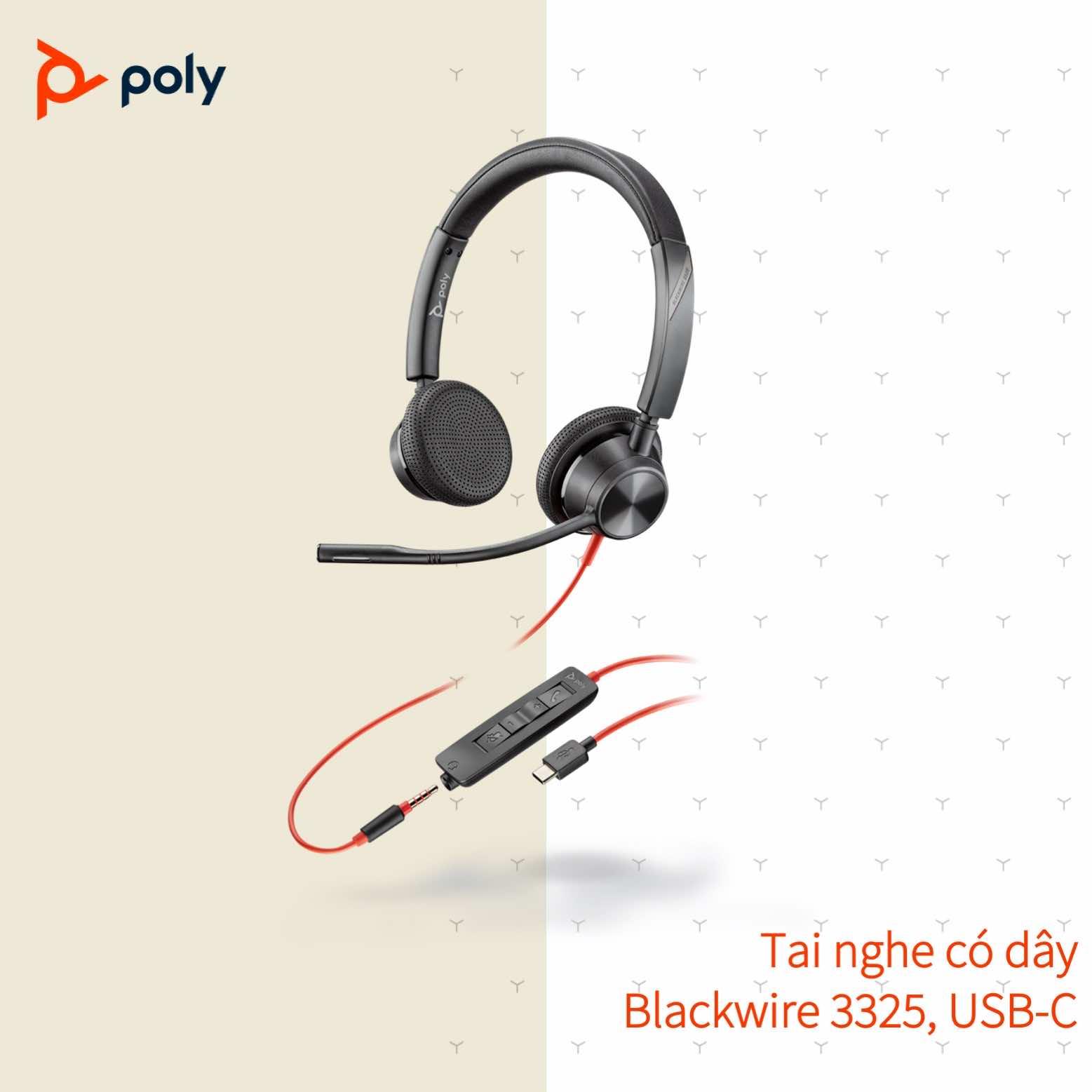 Tai nghe có dây Poly-Plantronics Blackwire 3325 USB Type A/C